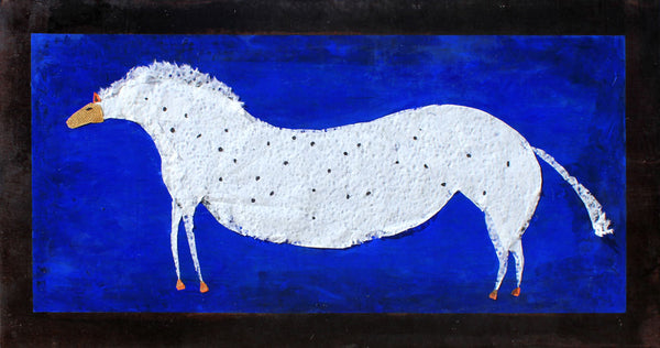 Horse on Blue - Larry Goode - 24x48""