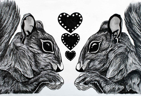 "Squirrels in Love - Flip Solomon - 15x19"" Framed"