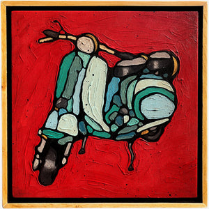 "Little Vespa - Joel Ganucheau - 13x13"" - ORIGINAL"