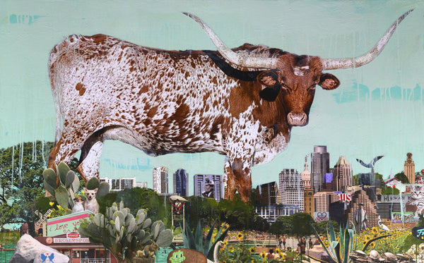 Longhorn Over Austin - Judy Paul - 30x48""