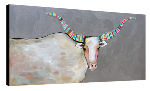 Longhorn in Metallic Pewter - Eli Halpin - 36x80""