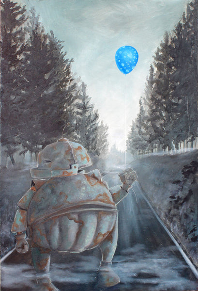Misty Blue Balloon Bot - Lauren Briere - 16x24""