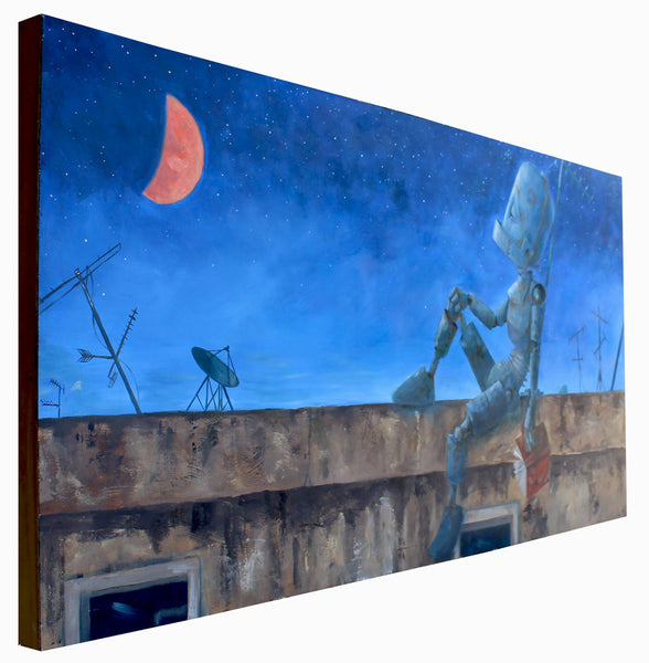 Orange Moon Bot - Lauren Briere - 24x48""