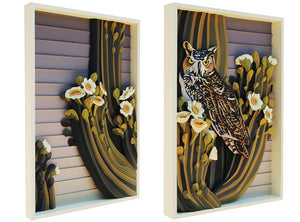 Owl (Diptych) - Landry McMeans - 36x48""