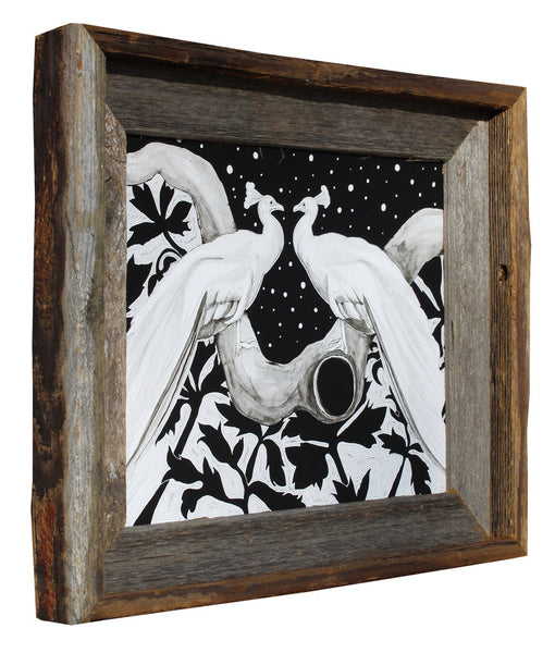 "Peacocks in Love - Flip Solomon - 11x13"" Framed"