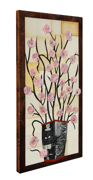 Pink Flowers - Larry Goode - 24x48""