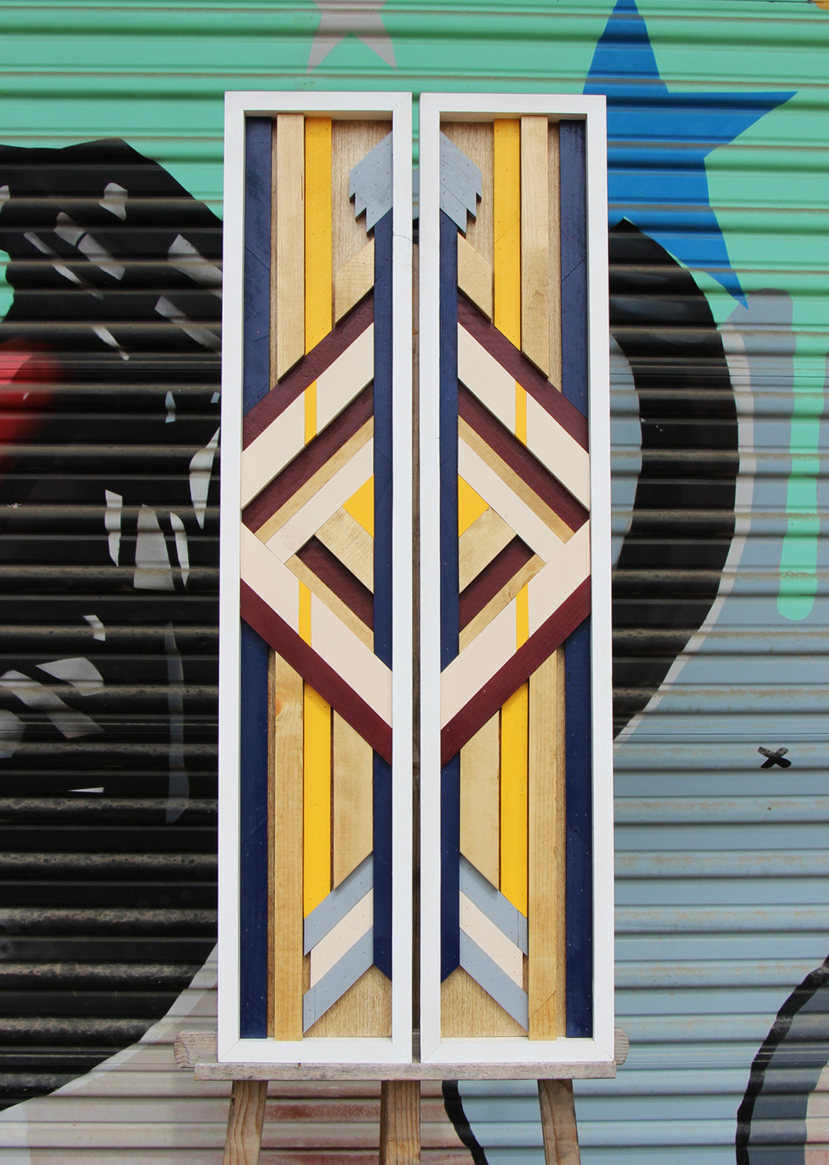 Splitting Arrow Diptych - Raymond Allen - 16x37.5""