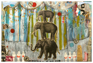 Stacked Elephants - Judy Paul - Print