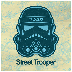 Street Trooper Petrol Light Blue Yellow Schematic - Beast Syndicate - Various Sizes (canvas print)