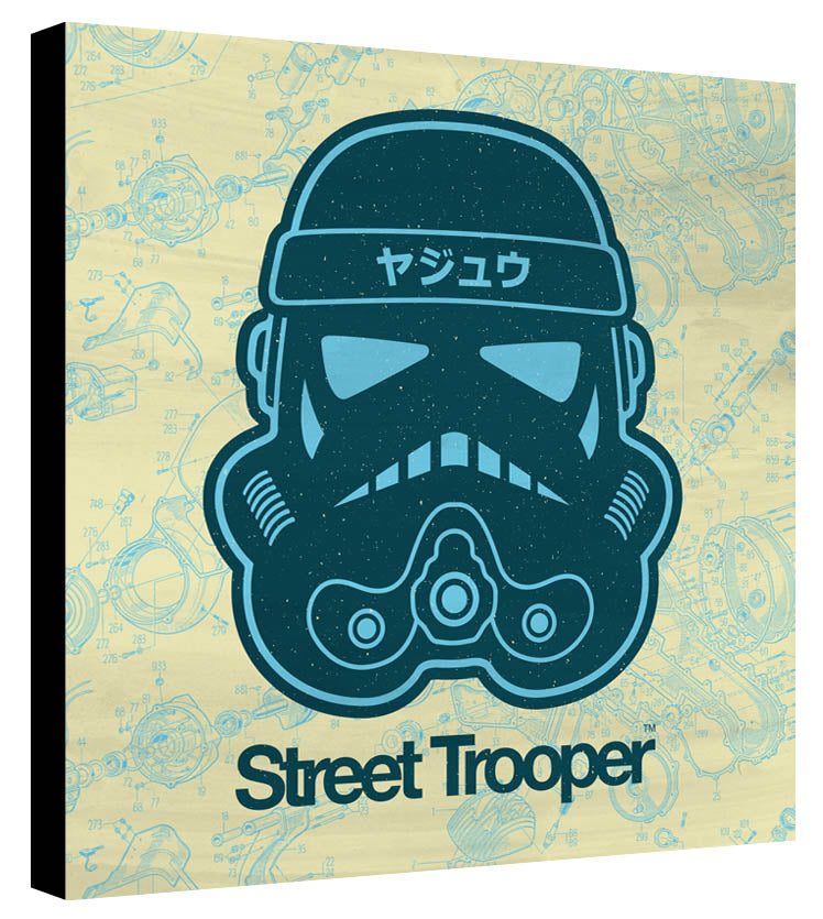 Skull Trooper Petrol Light Blue Yellow Schematic - Beast Syndicate - Various Sizes (canvas print)