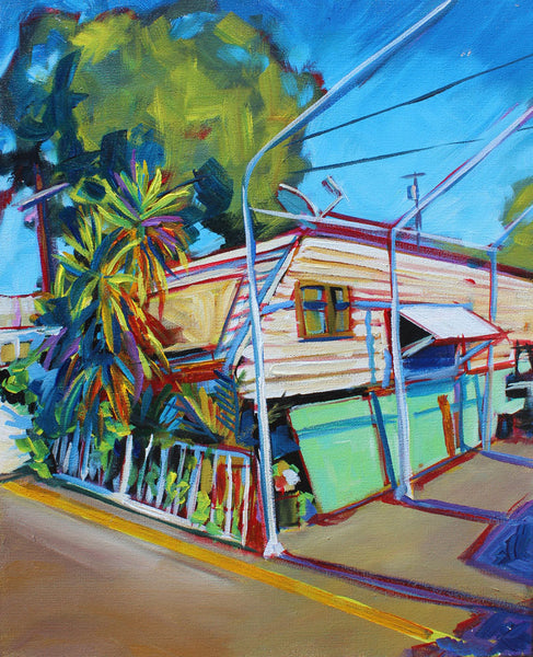 Sunny Green and White Trailer - Sari Shryack - 16x20""