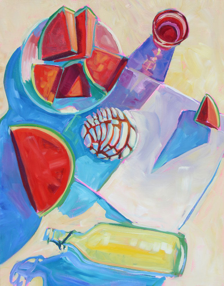 Watermelon and White Concha - Sari Shryack - 24x30""