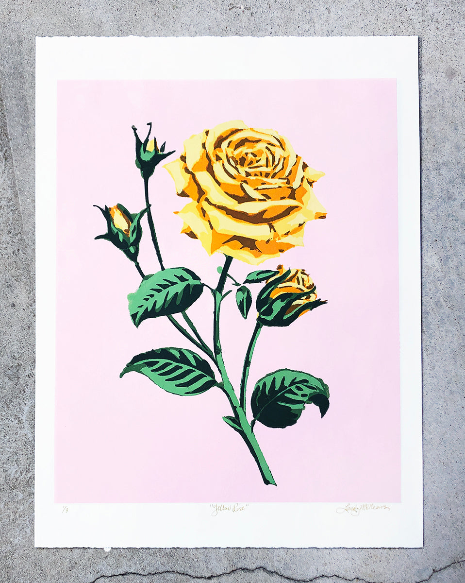 Yellow Rose (on pink) - Landry McMeans - 18x24""