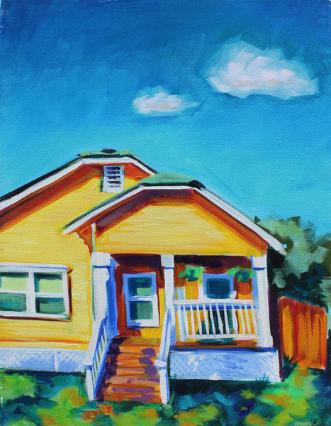 Yellow House with Clouds - Sari Shryack - 16x20""