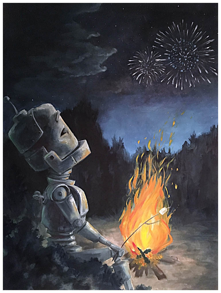 Camp Fire Bot - Lauren Briere - Print