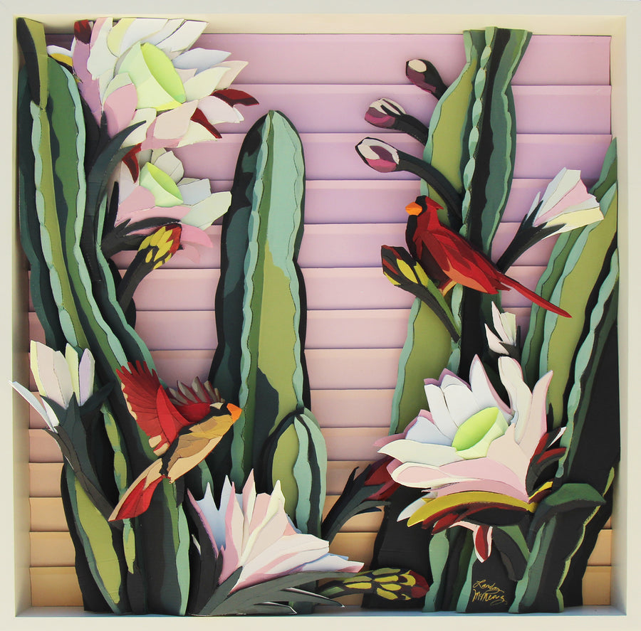 Cardinals and Cactus - Landry McMeans - 28x28""