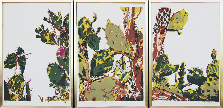 Resilience (Prickly Pear Triptych in wood frames) - Landry McMeans - 90 x 29""
