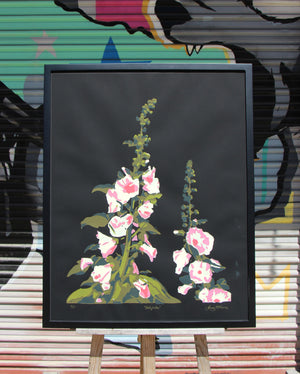 Hollyhock (on black) - Landry McMeans - 22x28""