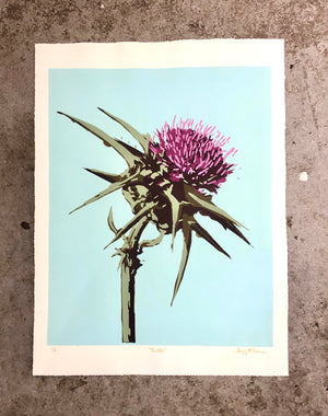 Thistle (on teal) - Landry McMeans - 18x24""
