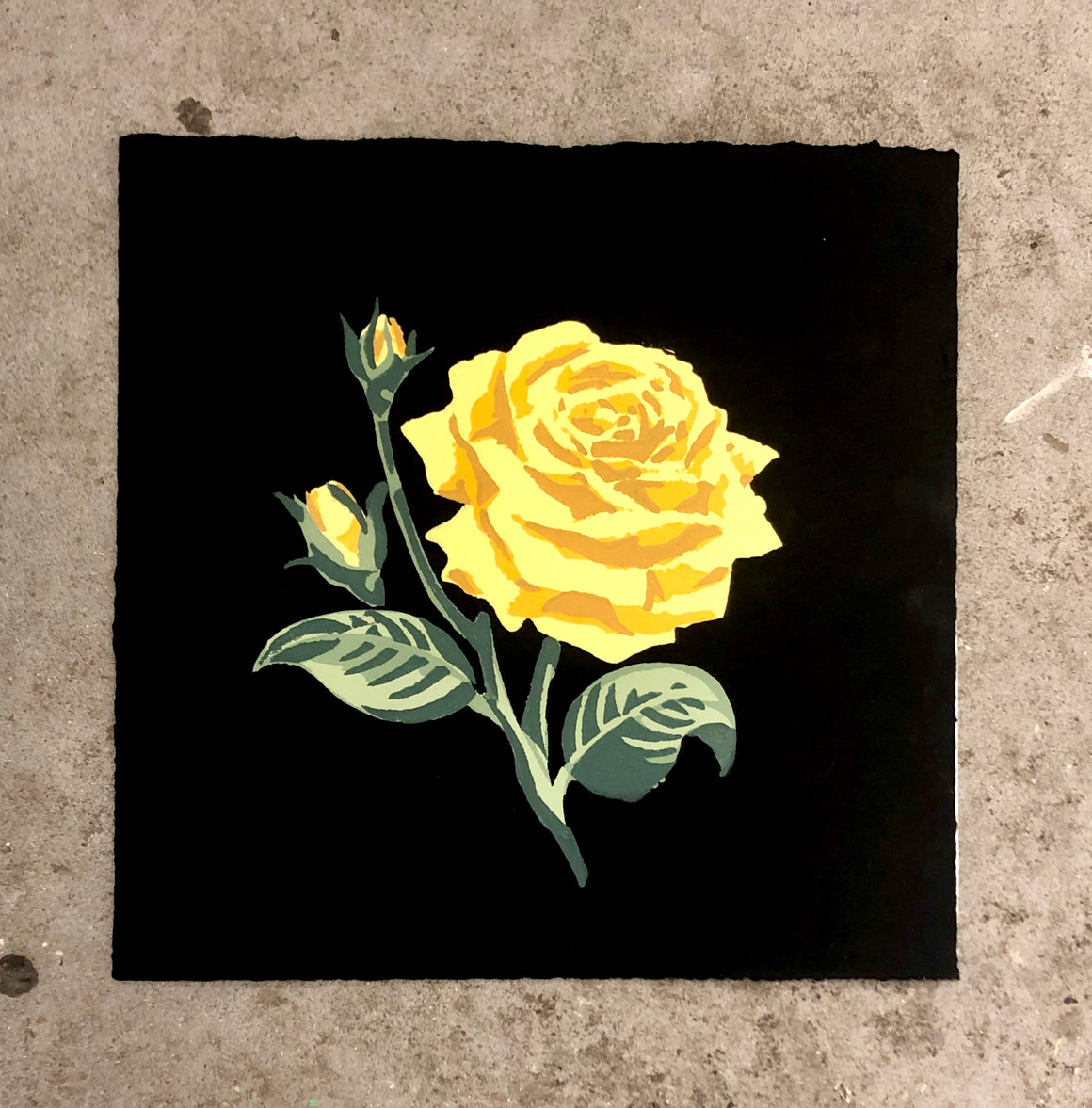 Yellow Rose (on black) - Landry McMeans - 15x15""