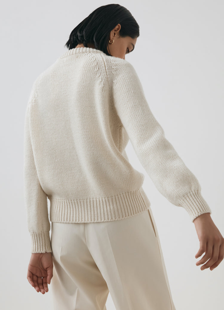 New In! Constance Crewneck Cardigan in Ecru