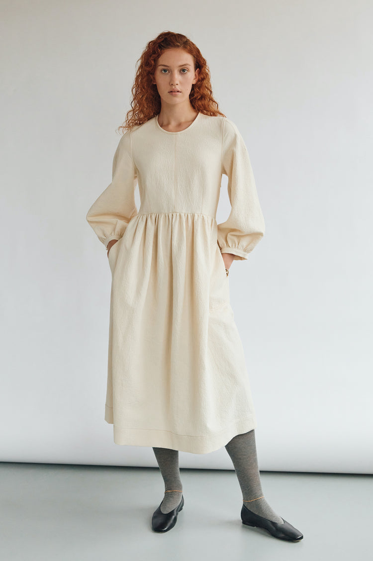 Pre Order! Rosalie Textured Cotton Curved Waist Dress in Ecru