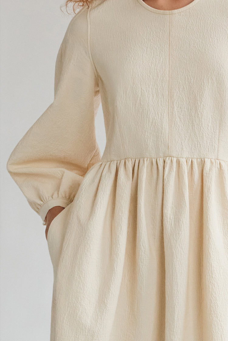 New In! Rosalie Textured Cotton Curved Waist Dress in Ecru