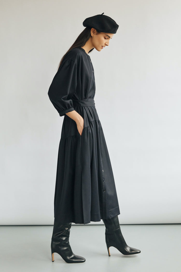 New In! Demi Wool Dropped Waist Shirtdress in Dark Navy
