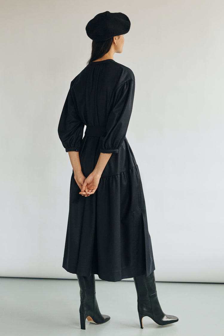 Demi Wool Dropped Waist Shirtdress in Dark Navy
