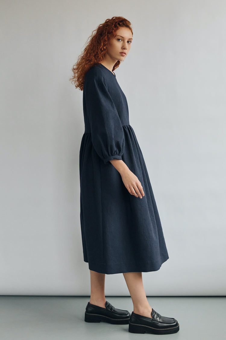 New In! Rosalie Textured Cotton Curved Waist Dress in Navy