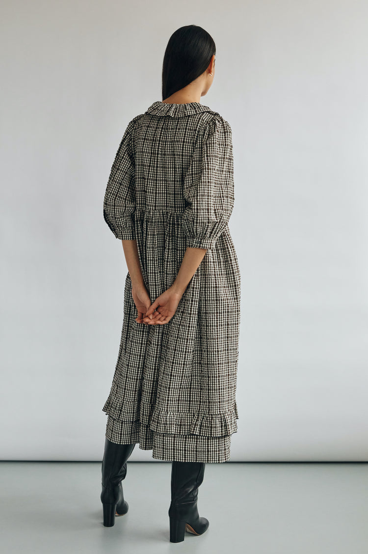 Pre Order! Rosa Modern Frill Shirtdress in Dark Brown