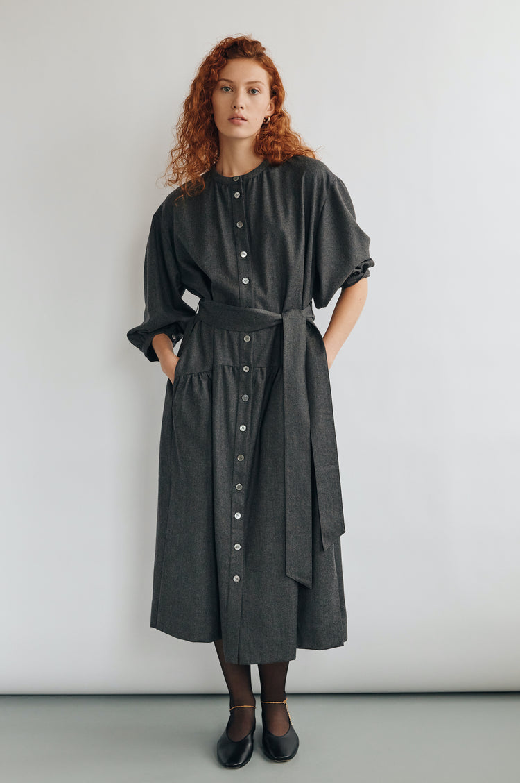 New In! Demi Wool Dropped Waist Shirtdress in Charcoal