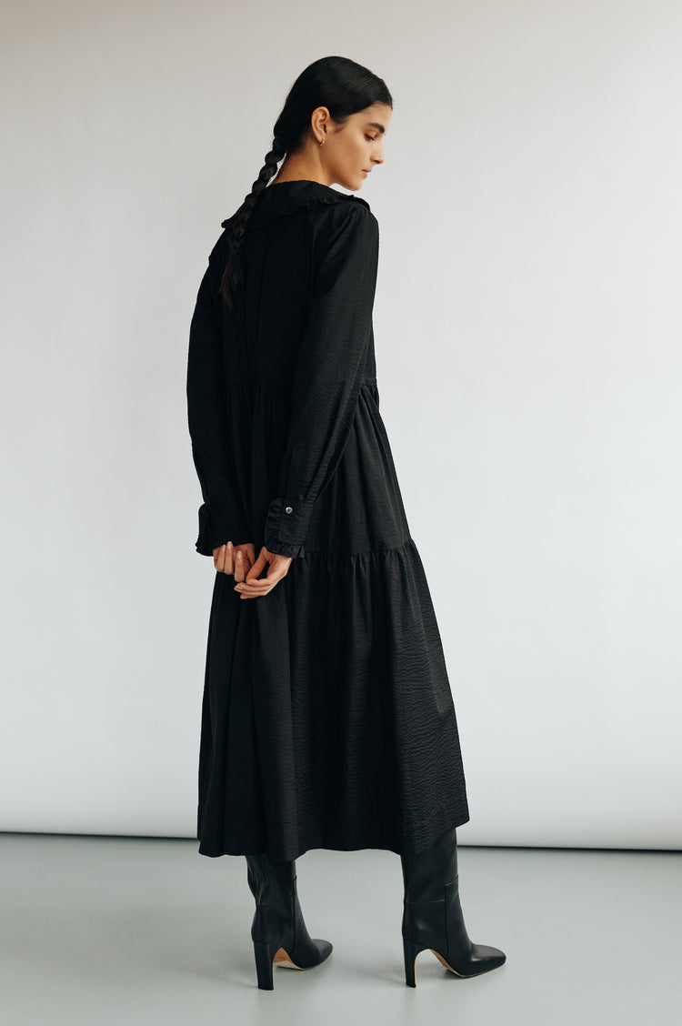 New In! Maxime Collared Tiered Shirt Dress in Black Seersucker