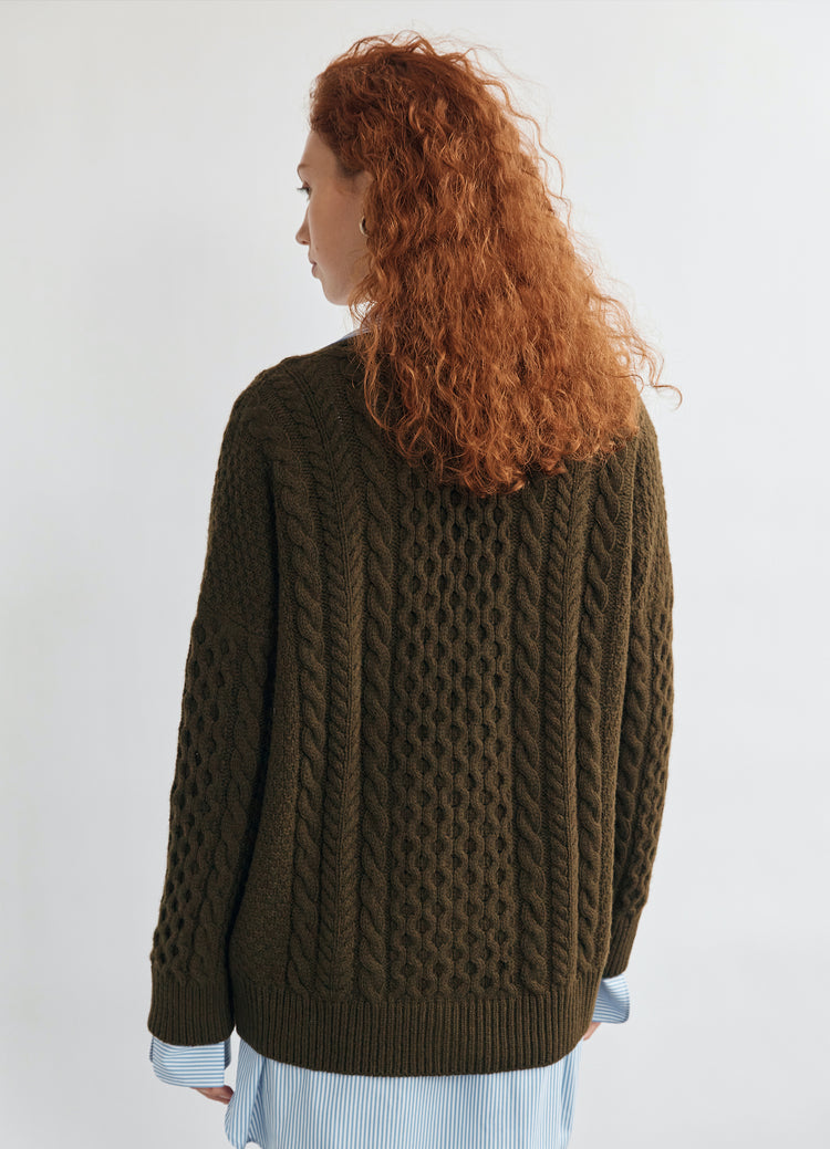 New In! Lena Slouchy Geelong Aran Cardigan in Military Green
