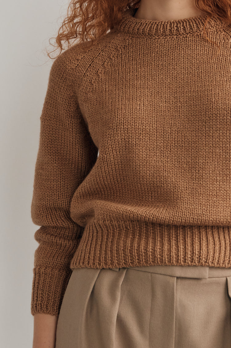 New In! Agnes Merino Cropped Crewneck in Camel
