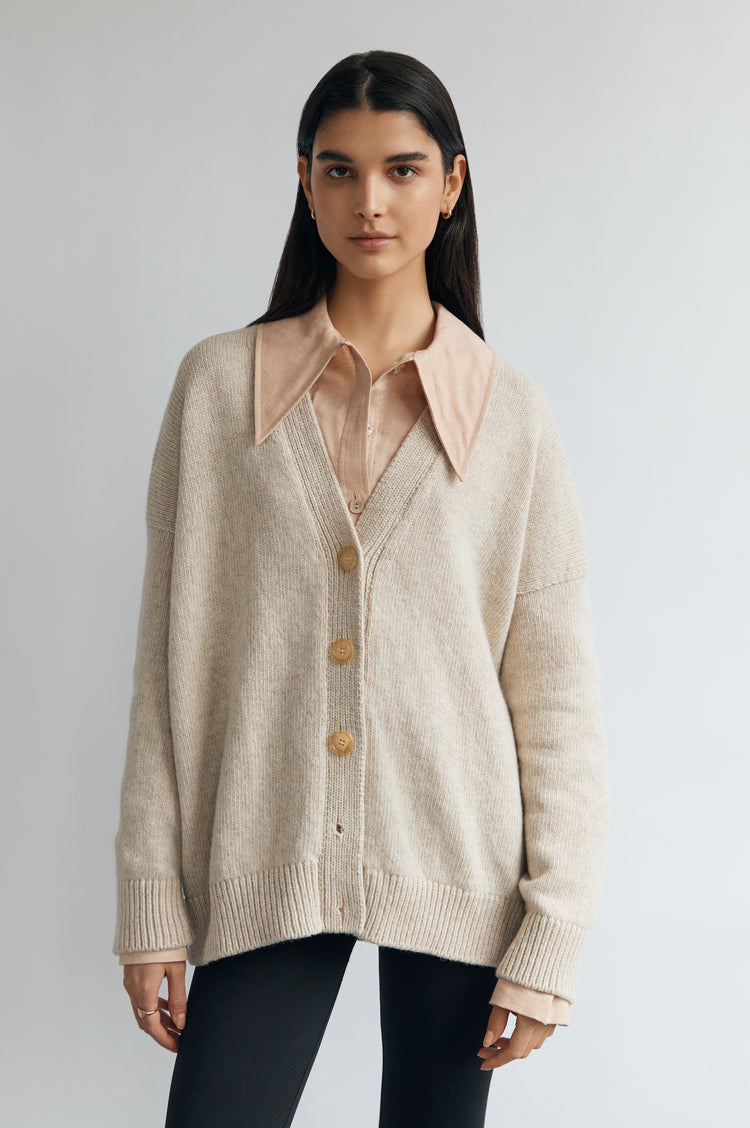 New In! Carey Lambswool Cardigan in Linen