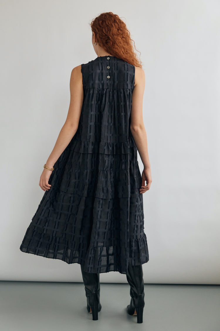Berta Tiered Trapeze Sleeveless Midi Dress in Navy