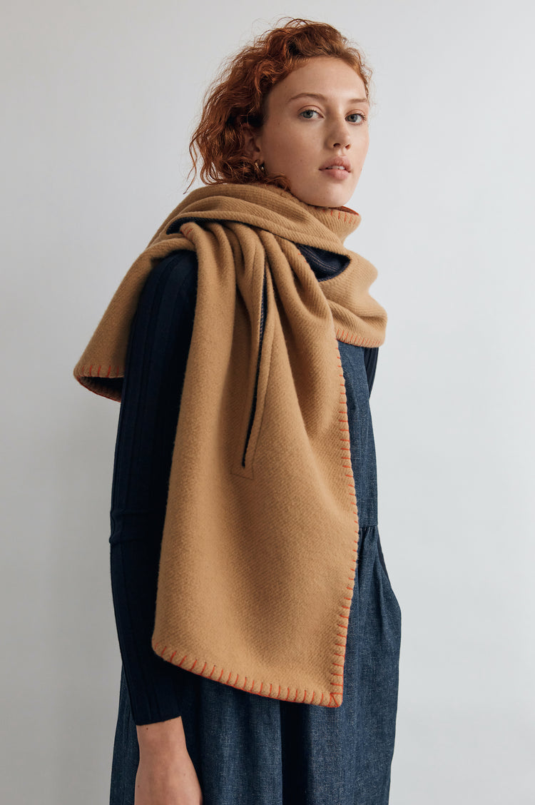 Elliot Blanket Scarf in Camel