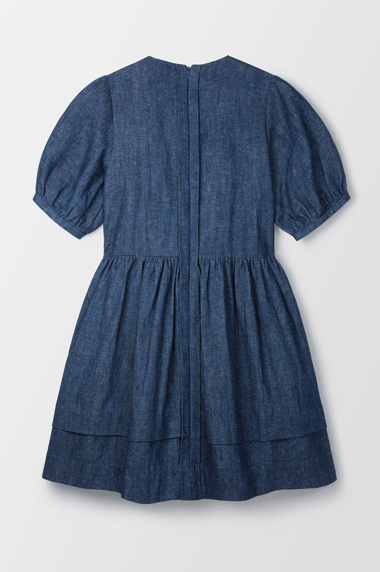 Esther Organic Hemp Raw Edge Dress in Indigo