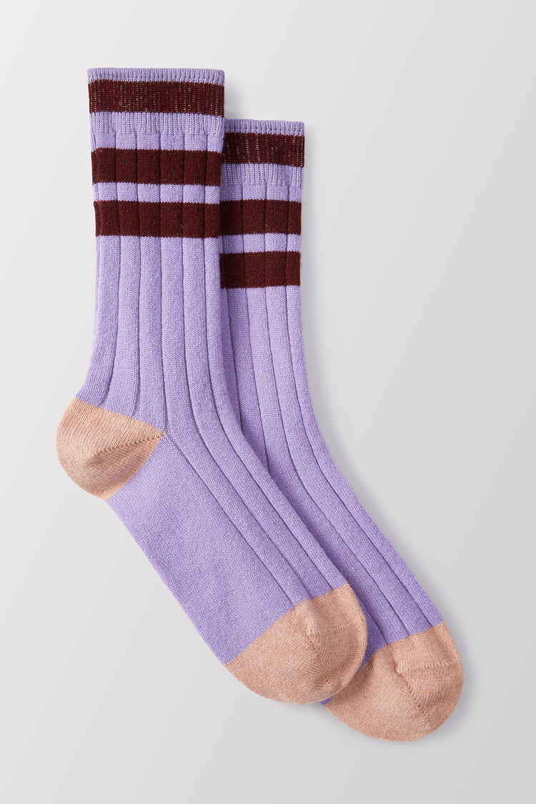 Florence Stripe Cashmere Socks in Lilac