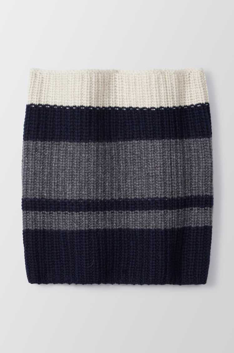 Vera Striped Cashmere Snood in Navy