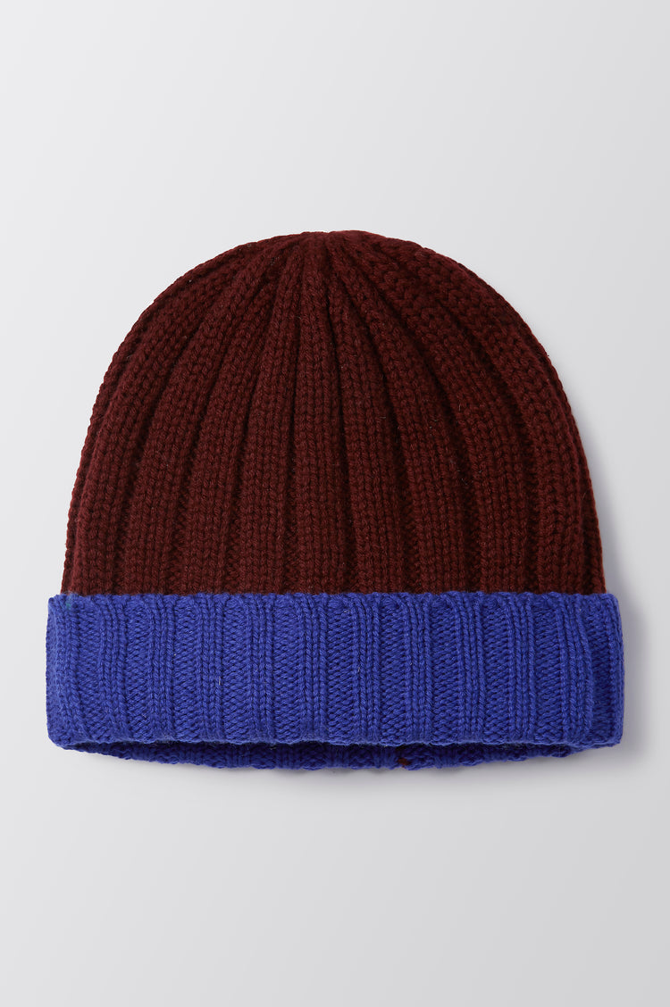 Martha Cashmere Contrast Beanie in Blue
