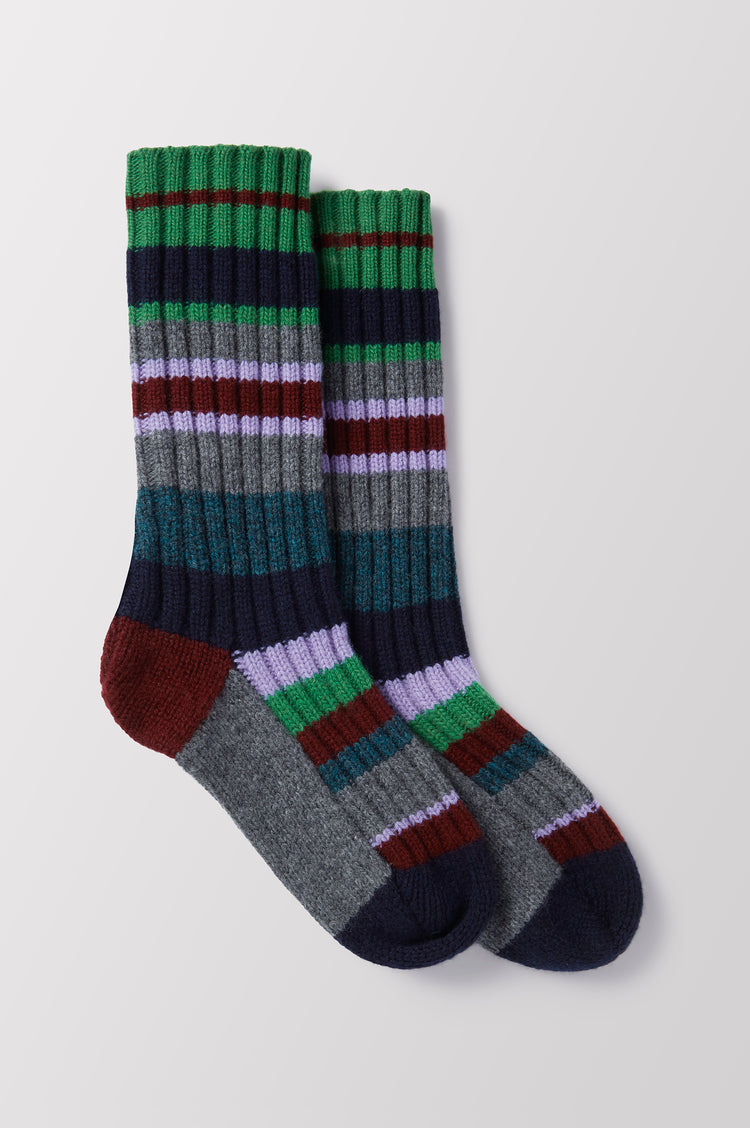 Lois Stripe Hand Knit Geelong Socks in Green