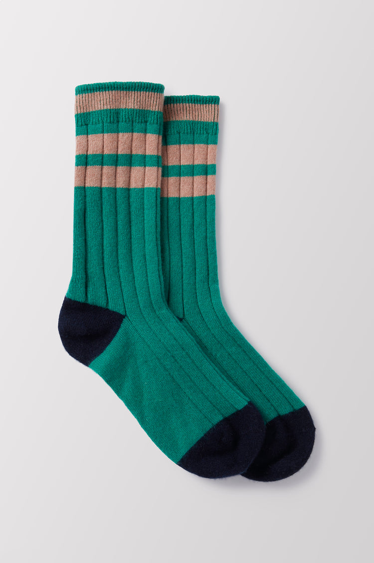 Florence Stripe Cashmere Socks in Green