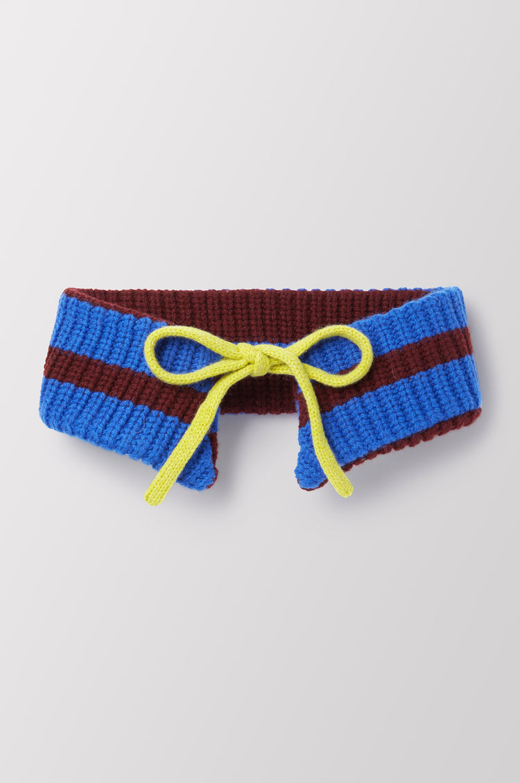 Maude Stripe Hand Knit Geelong Collar in Blue
