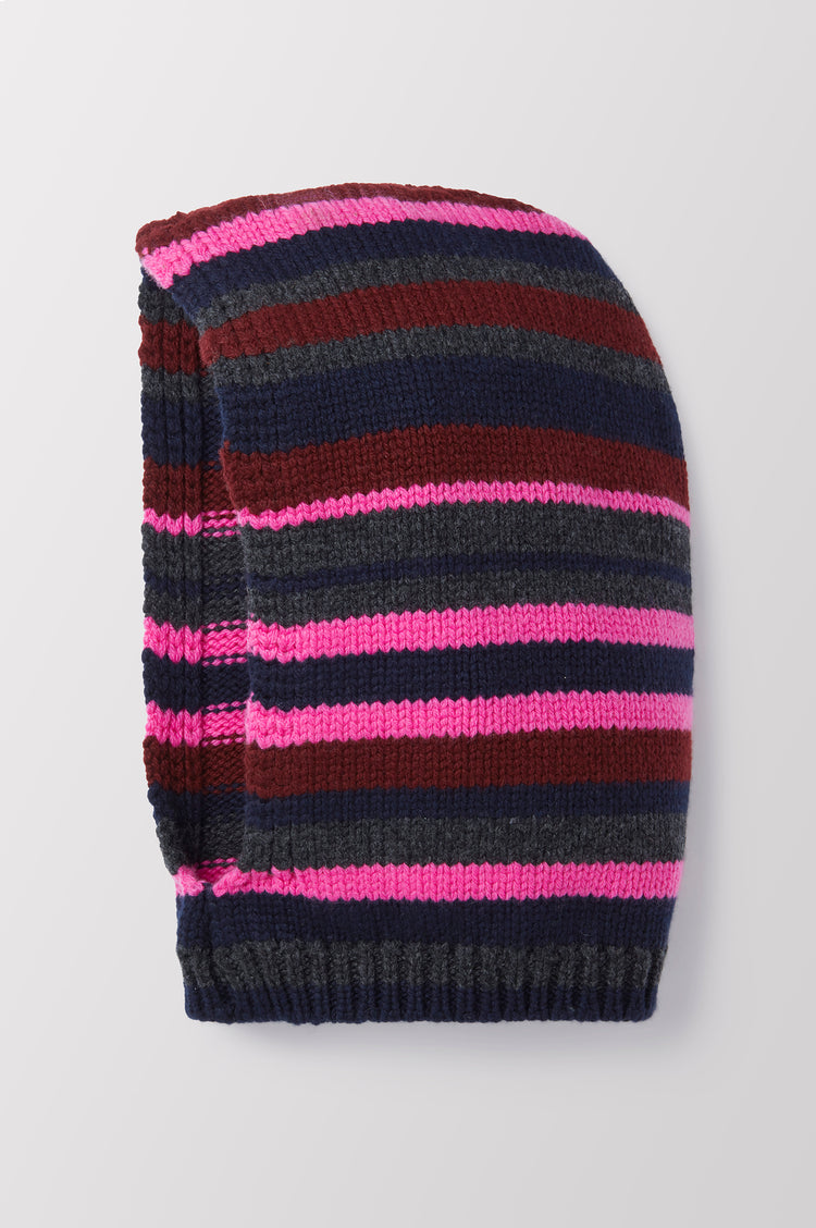 Greta Stripe Hand Knit Geelong Hood in Pink