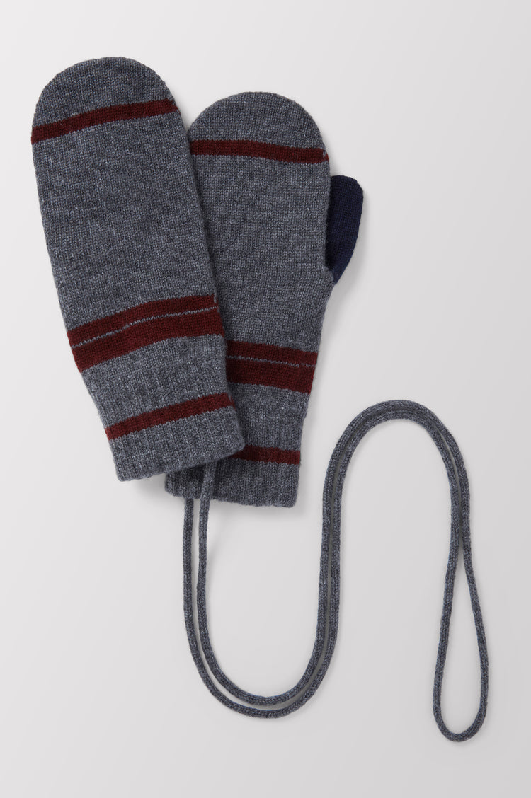 Clara Stripe Cashmere Mittens in Grey