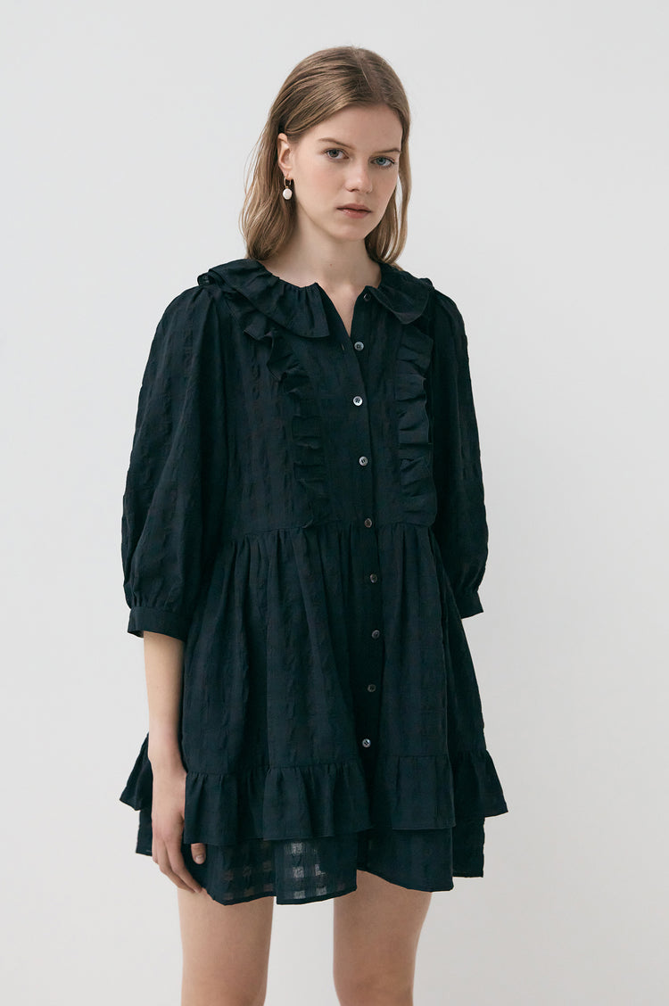 Cecile Modern Frill Cotton Shirtdress Short in Black