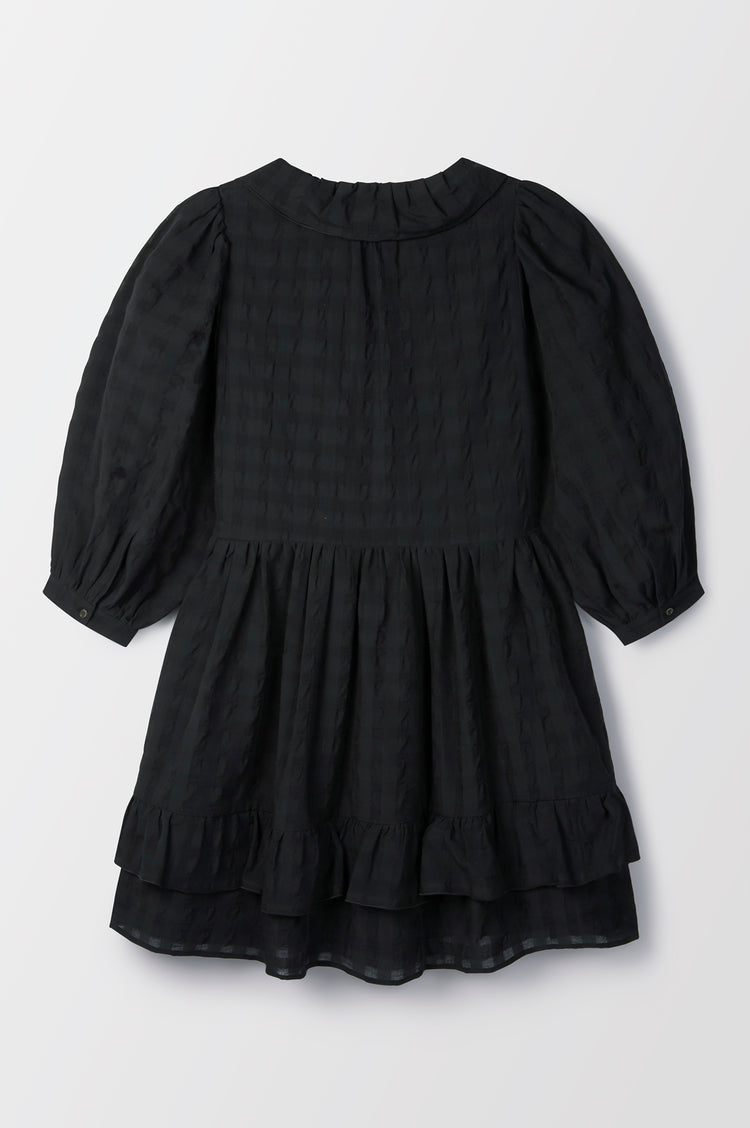 New In! Cecile Modern Frill Cotton Shirtdress Short in Black