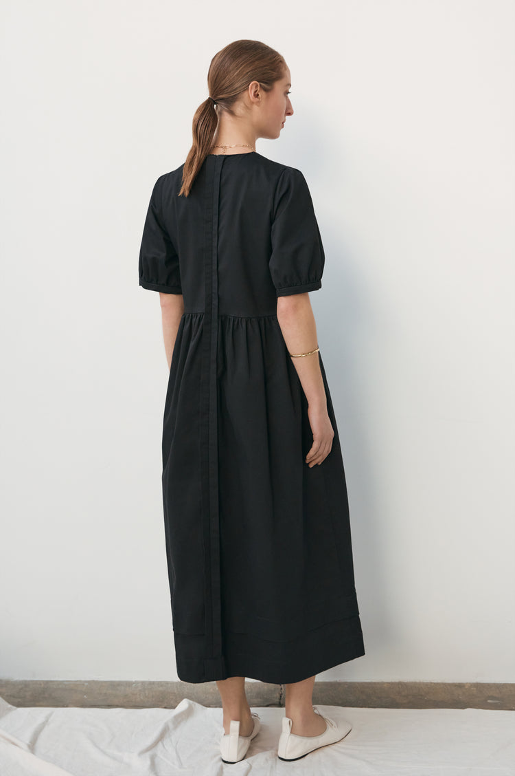 New In! Dawn Organic Cotton Pleat Back Dress in Black